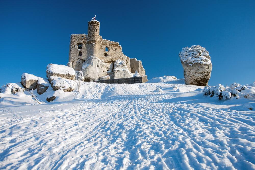 castle in Mirow in winter