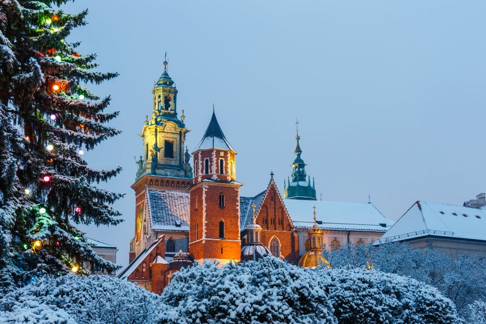 Cracow during Christmas time - view over Wawel Castle